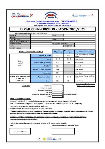HGB_FFESSM_Fiche Inscription 2020-2021