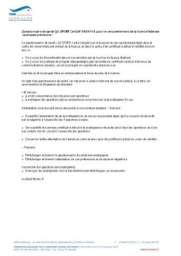 Questionnaire de santé QS SPORT Modele d Attestation